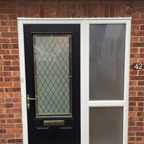 Black Composite Front Door with Etched Diamond Glass