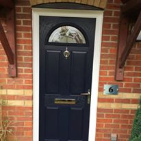Blue Composite Door with Reflections Glass
