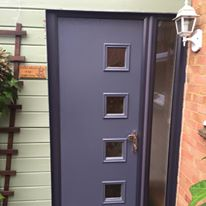 Slate Grey Composite Front Door With Anthracite Grey Frame