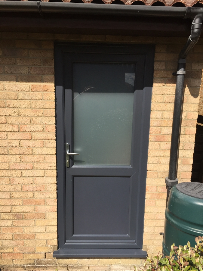 Grey Upvc back door