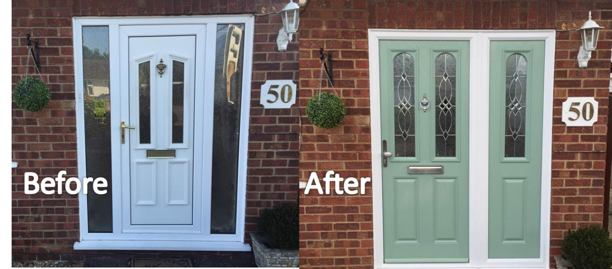 Before and after photos of chartwell green composite door