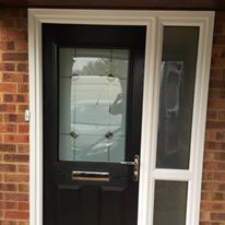 Black Composite Door With Retro Black Glass