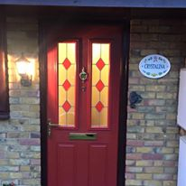 Red Composite Front Door With Red Diamonds